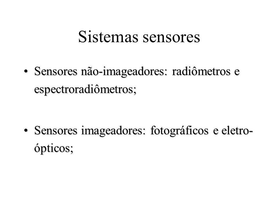 Sistemas sensores Sensores não-imageadores: radiômetros e espectroradiômetros; Sensores imageadores: fotográficos e eletro-ópticos;