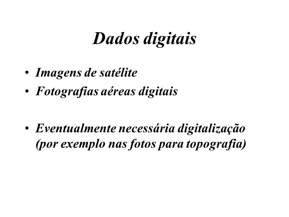 Dados digitais Imagens de satélite Fotografias aéreas digitais