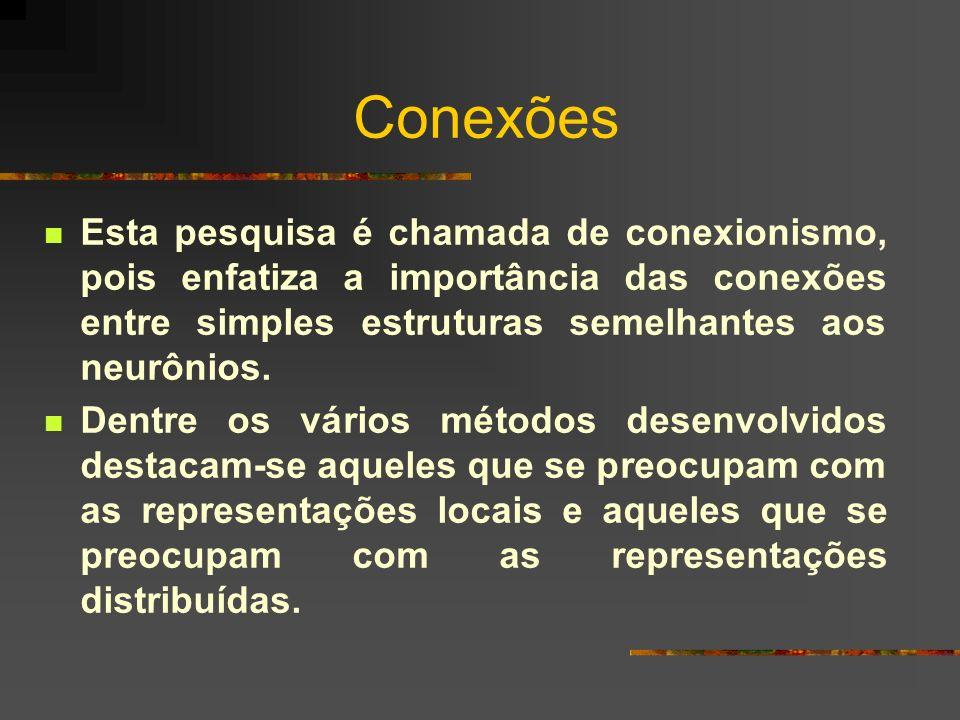 Conexões Esta pesquisa é chamada de conexionismo, pois enfatiza a importância das conexões entre simples estruturas semelhantes aos neurônios.