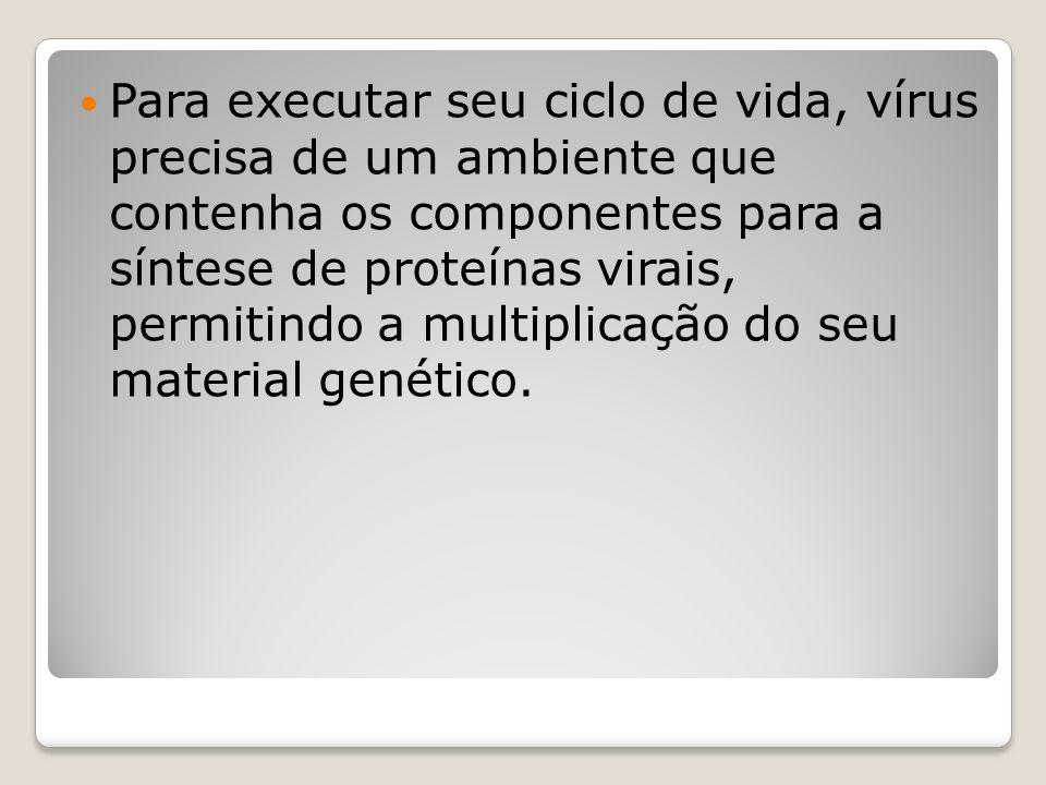 Para executar seu ciclo de vida, vírus precisa de um ambiente que contenha os componentes para a síntese de proteínas virais, permitindo a multiplicação do seu material genético.