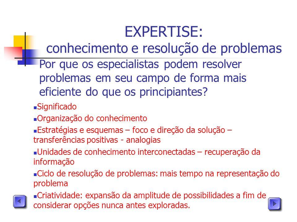 EXPERTISE: conhecimento e resolução de problemas