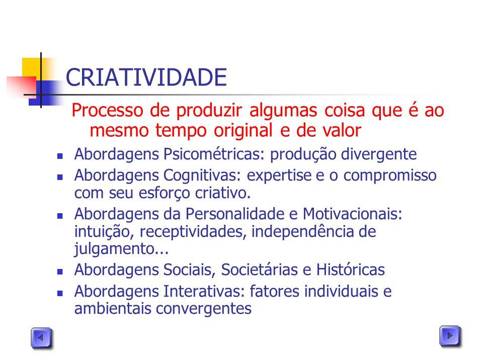 CRIATIVIDADE Processo de produzir algumas coisa que é ao mesmo tempo original e de valor. Abordagens Psicométricas: produção divergente.