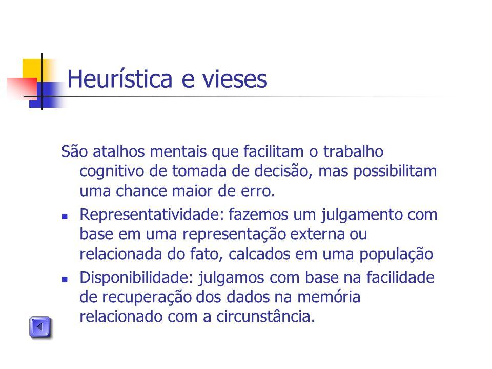 Heurística e vieses São atalhos mentais que facilitam o trabalho cognitivo de tomada de decisão, mas possibilitam uma chance maior de erro.