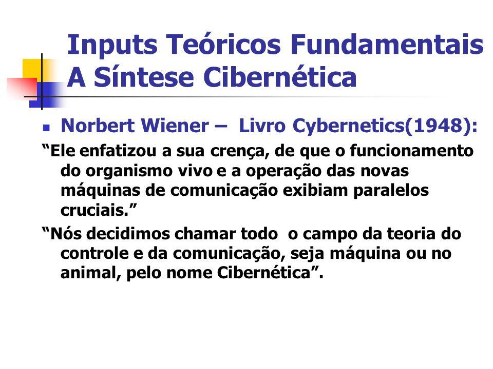 Inputs Teóricos Fundamentais A Síntese Cibernética