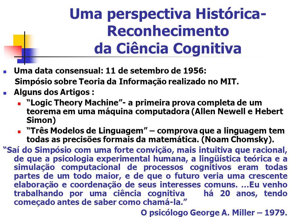 Uma perspectiva Histórica- Reconhecimento da Ciência Cognitiva