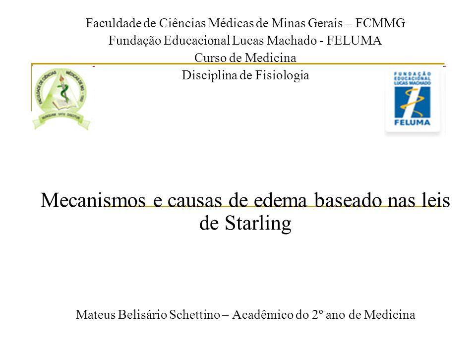 Mecanismos e causas de edema baseado nas leis de Starling