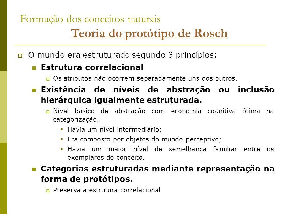 Formação dos conceitos naturais Teoria do protótipo de Rosch