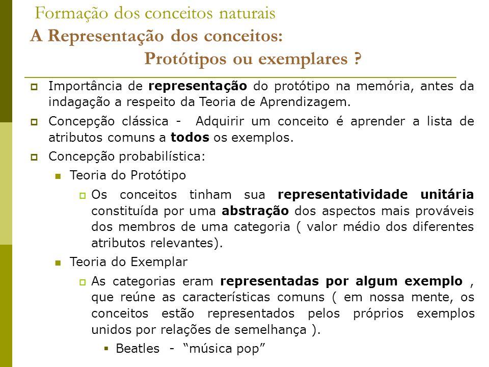 Formação dos conceitos naturais A Representação dos conceitos: Protótipos ou exemplares