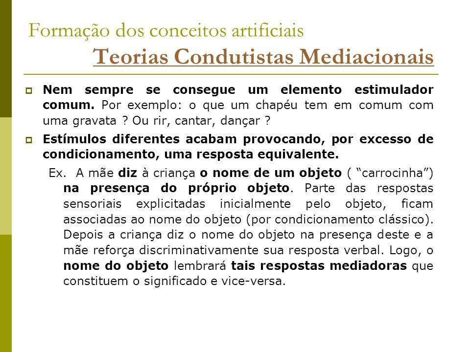 Formação dos conceitos artificiais Teorias Condutistas Mediacionais