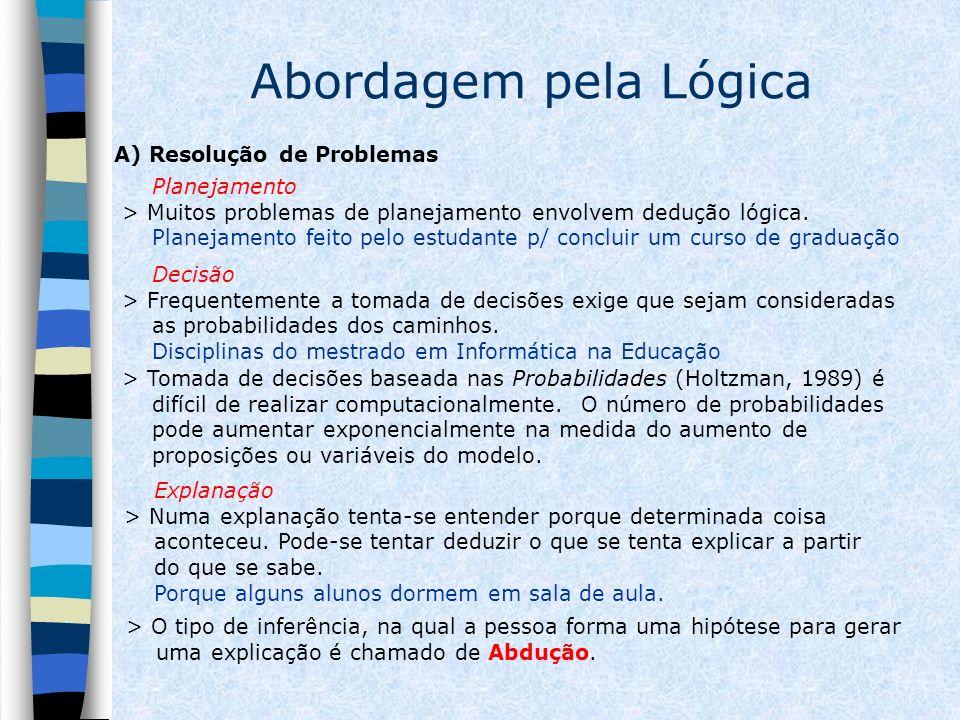 Abordagem pela Lógica A) Resolução de Problemas Planejamento