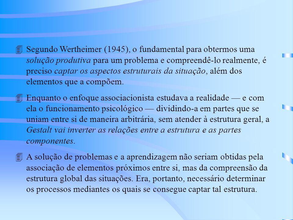 Segundo Wertheimer (1945), o fundamental para obtermos uma solução produtiva para um problema e compreendê-lo realmente, é preciso captar os aspectos estruturais da situação, além dos elementos que a compõem.