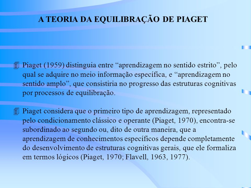 A TEORIA DA EQUILIBRAÇÃO DE PIAGET