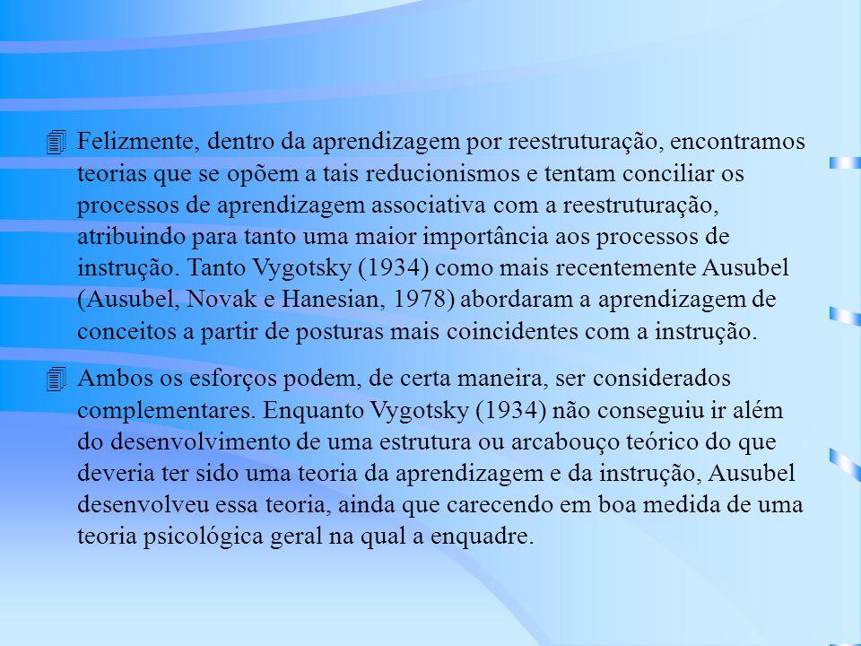 Felizmente, dentro da aprendizagem por reestruturação, encontramos teorias que se opõem a tais reducionismos e tentam conciliar os processos de aprendizagem associativa com a reestruturação, atribuindo para tanto uma maior importância aos processos de instrução. Tanto Vygotsky (1934) como mais recentemente Ausubel (Ausubel, Novak e Hanesian, 1978) abordaram a aprendizagem de conceitos a partir de posturas mais coincidentes com a instrução.