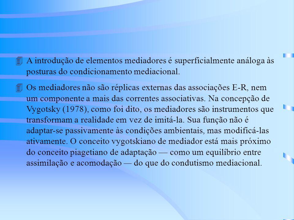 A introdução de elementos mediadores é superficialmente análoga às posturas do condicionamento mediacional.