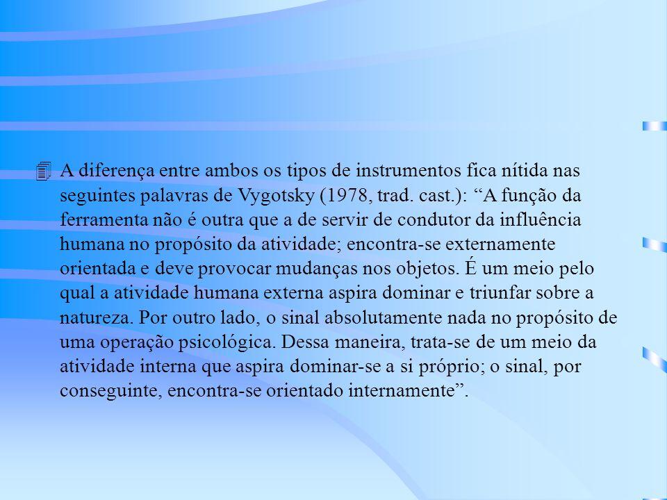 A diferença entre ambos os tipos de instrumentos fica nítida nas seguintes palavras de Vygotsky (1978, trad.