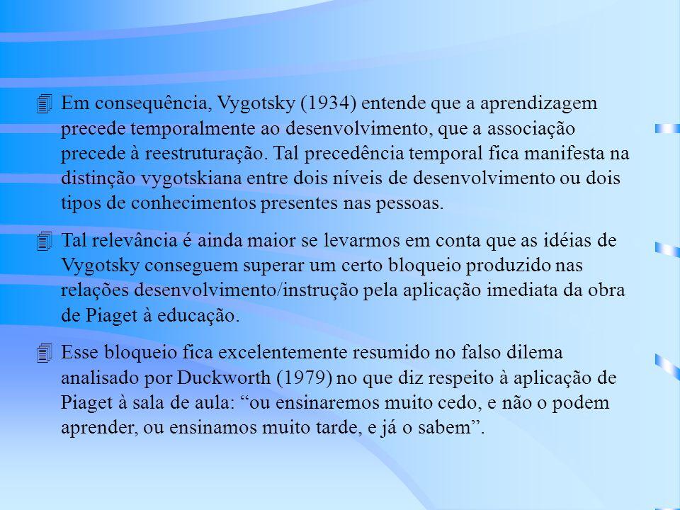Em consequência, Vygotsky (1934) entende que a aprendizagem precede temporalmente ao desenvolvimento, que a associação precede à reestruturação. Tal precedência temporal fica manifesta na distinção vygotskiana entre dois níveis de desenvolvimento ou dois tipos de conhecimentos presentes nas pessoas.