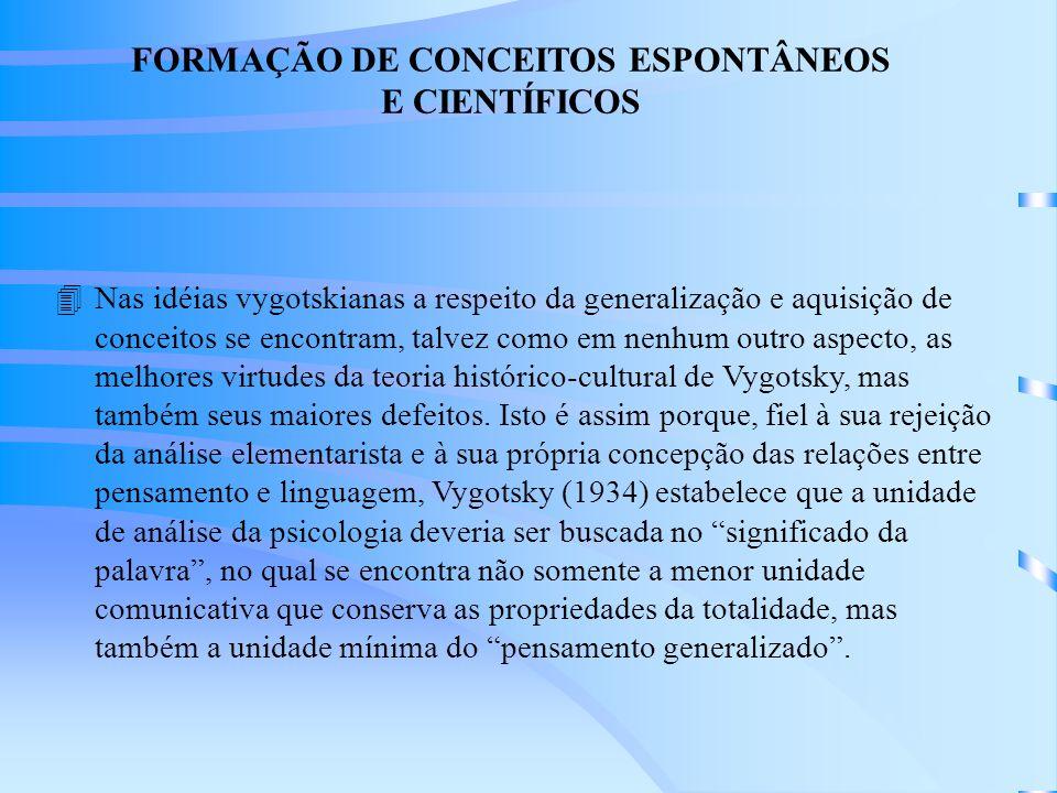FORMAÇÃO DE CONCEITOS ESPONTÂNEOS E CIENTÍFICOS