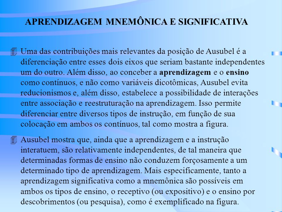 APRENDIZAGEM MNEMÔNICA E SIGNIFICATIVA