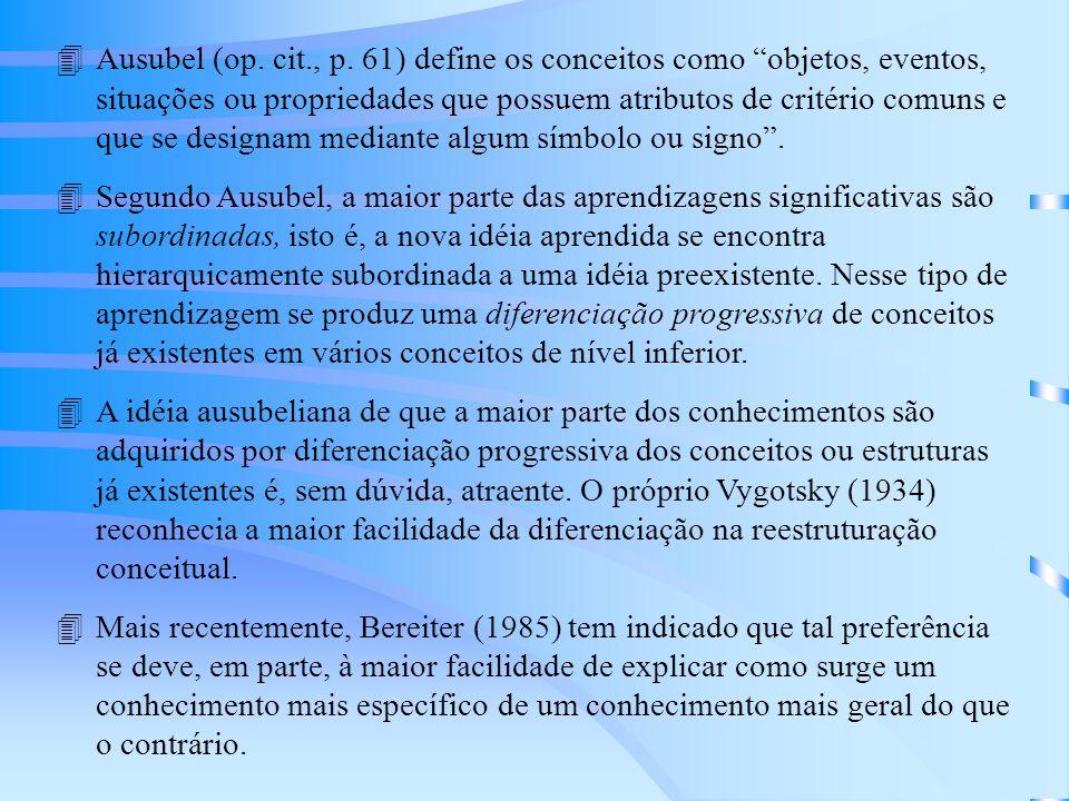 Ausubel (op. cit., p. 61) define os conceitos como objetos, eventos, situações ou propriedades que possuem atributos de critério comuns e que se designam mediante algum símbolo ou signo .