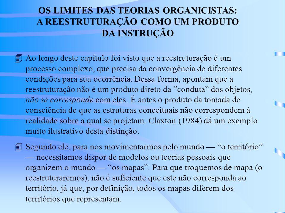 OS LIMITES DAS TEORIAS ORGANICISTAS: A REESTRUTURAÇÃO COMO UM PRODUTO DA INSTRUÇÃO