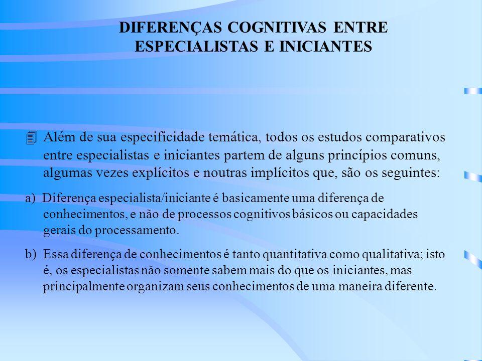 DIFERENÇAS COGNITIVAS ENTRE ESPECIALISTAS E INICIANTES