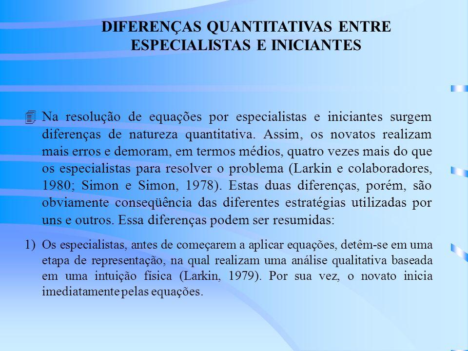 DIFERENÇAS QUANTITATIVAS ENTRE ESPECIALISTAS E INICIANTES