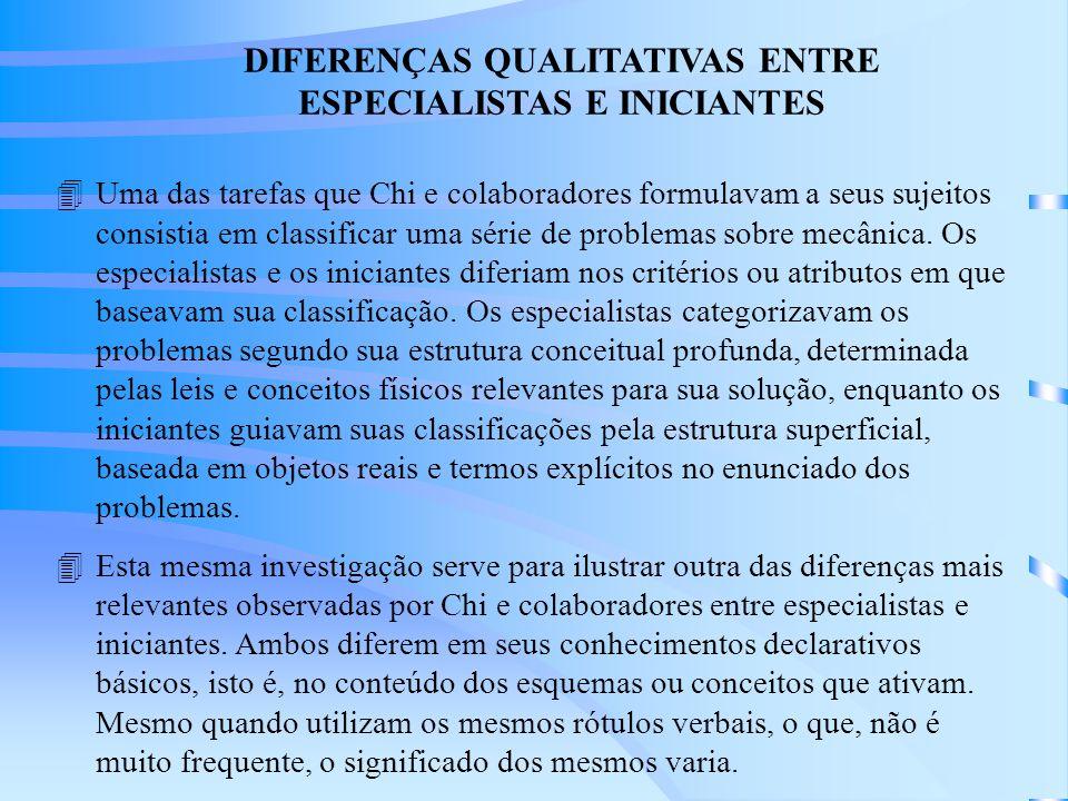 DIFERENÇAS QUALITATIVAS ENTRE ESPECIALISTAS E INICIANTES