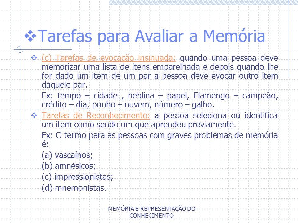 Tarefas para Avaliar a Memória