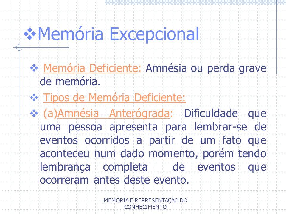 MEMÓRIA E REPRESENTAÇÃO DO CONHECIMENTO