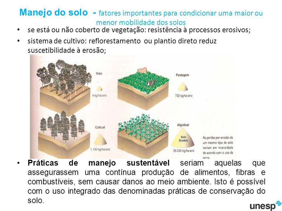 Manejo do solo - fatores importantes para condicionar uma maior ou menor mobilidade dos solos