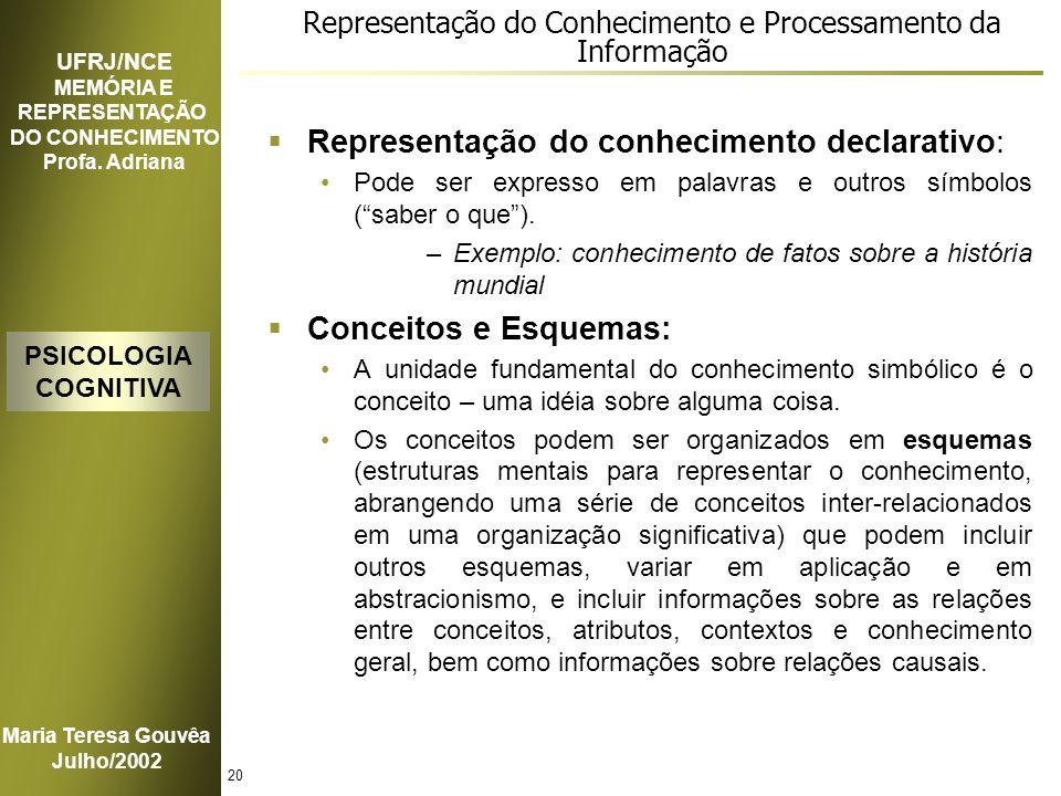 Representação do Conhecimento e Processamento da Informação
