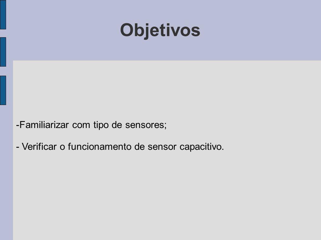Objetivos Familiarizar com tipo de sensores;