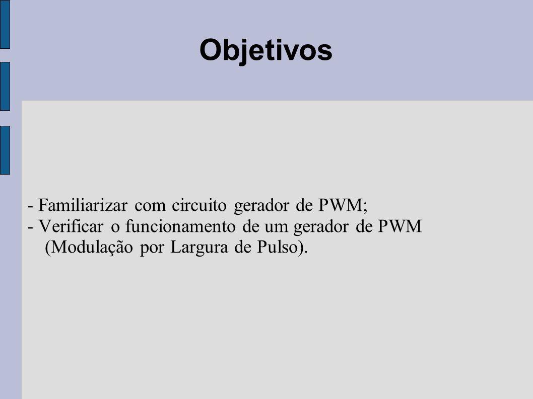 Objetivos - Familiarizar com circuito gerador de PWM;
