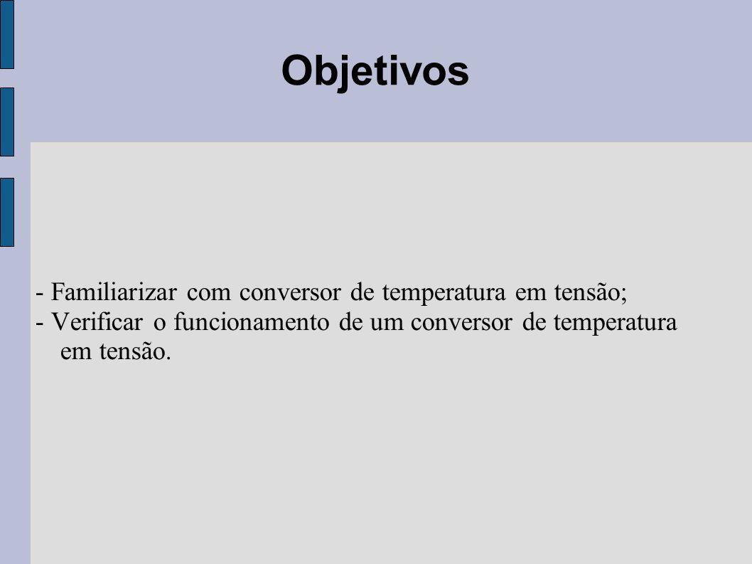 Objetivos - Familiarizar com conversor de temperatura em tensão;