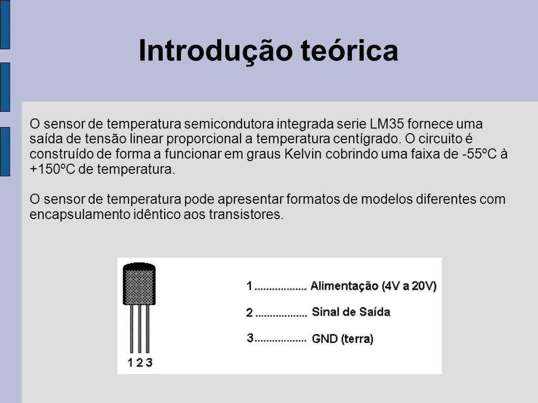 Introdução teórica O sensor de temperatura semicondutora integrada serie LM35 fornece uma.