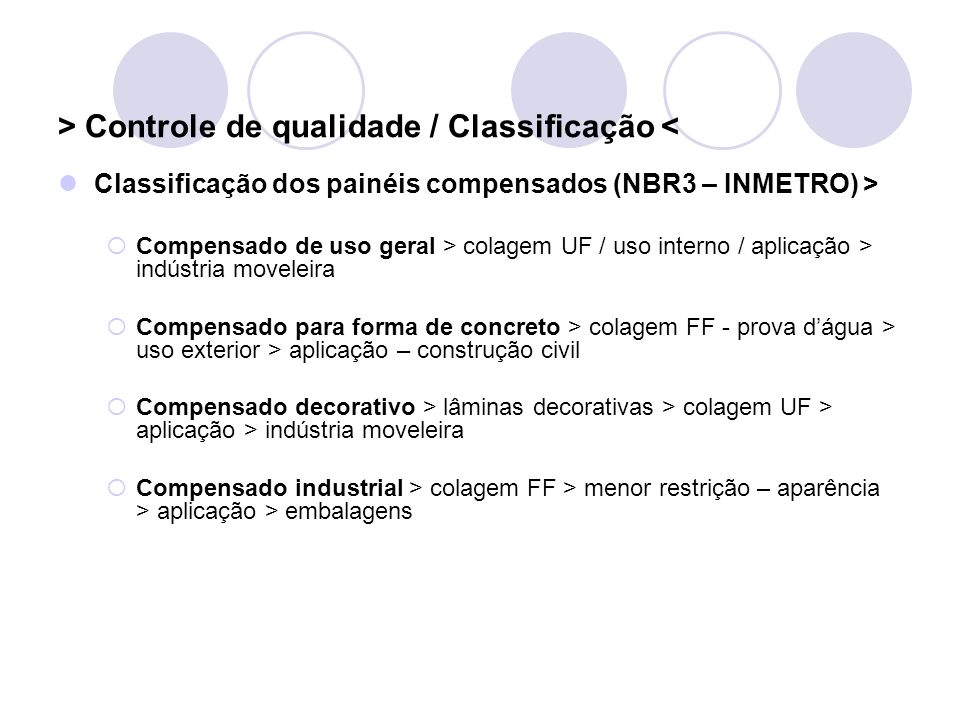 > Controle de qualidade / Classificação <