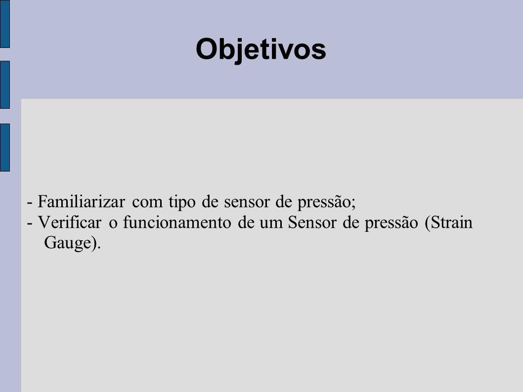 Objetivos - Familiarizar com tipo de sensor de pressão;