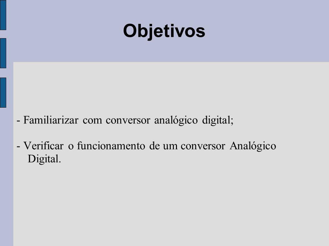 Objetivos - Familiarizar com conversor analógico digital;