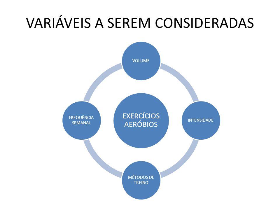 VARIÁVEIS A SEREM CONSIDERADAS