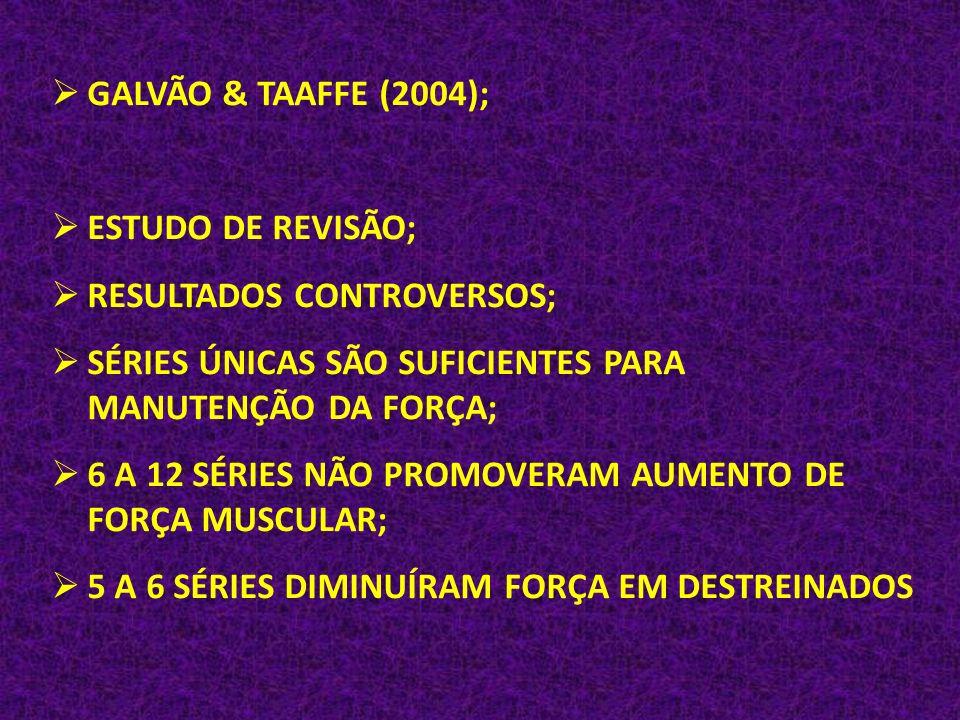 GALVÃO & TAAFFE (2004); ESTUDO DE REVISÃO; RESULTADOS CONTROVERSOS; SÉRIES ÚNICAS SÃO SUFICIENTES PARA MANUTENÇÃO DA FORÇA;