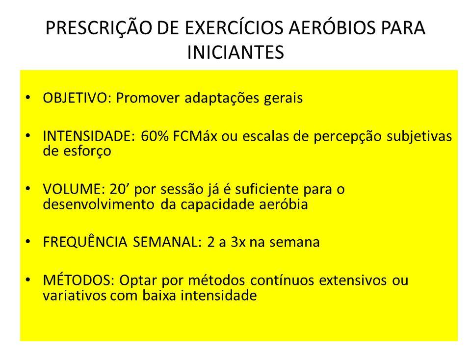 PRESCRIÇÃO DE EXERCÍCIOS AERÓBIOS PARA INICIANTES