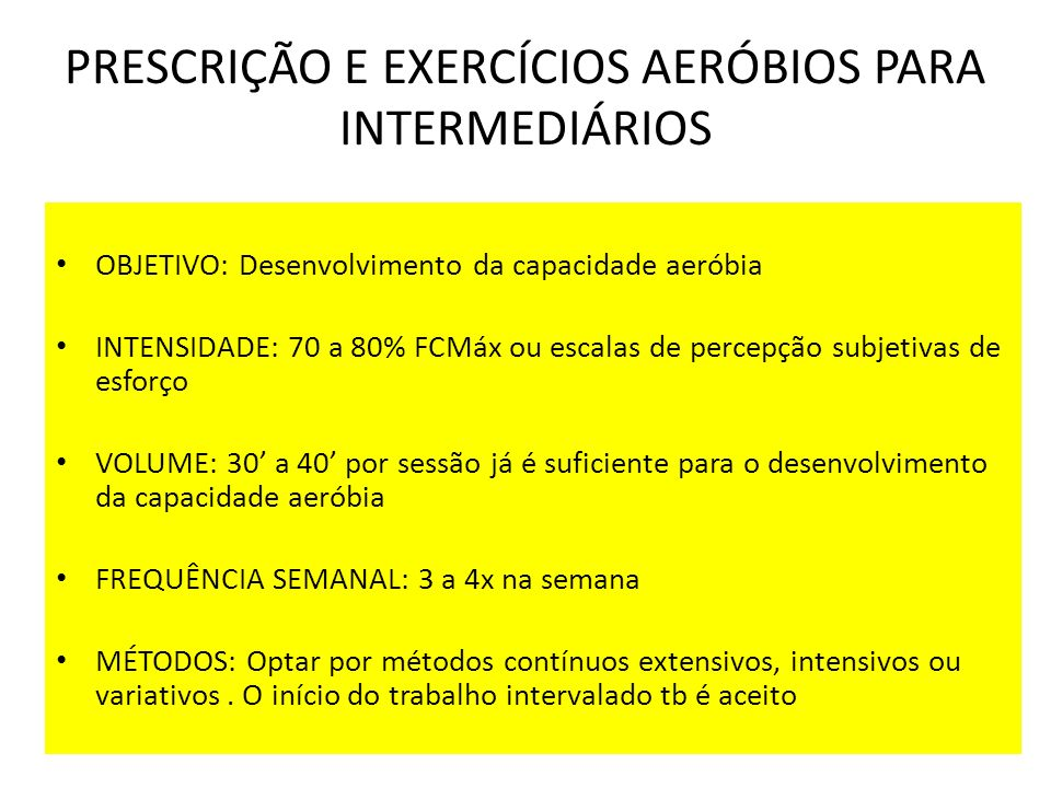 PRESCRIÇÃO E EXERCÍCIOS AERÓBIOS PARA INTERMEDIÁRIOS