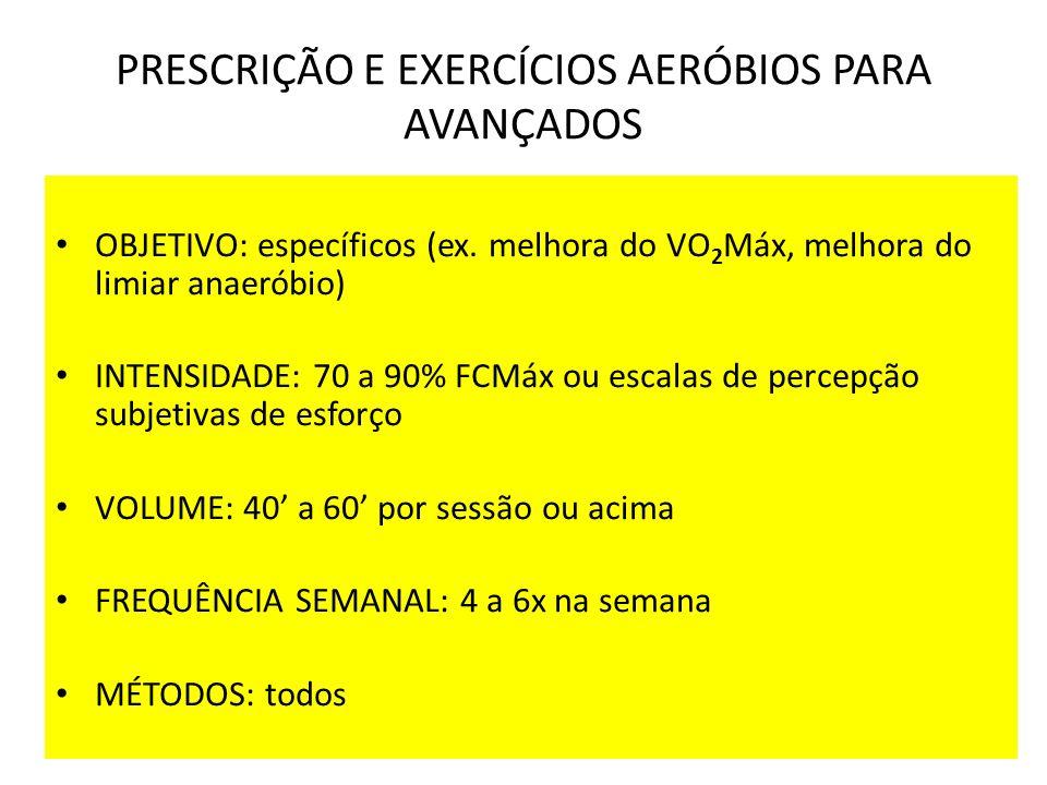 PRESCRIÇÃO E EXERCÍCIOS AERÓBIOS PARA AVANÇADOS