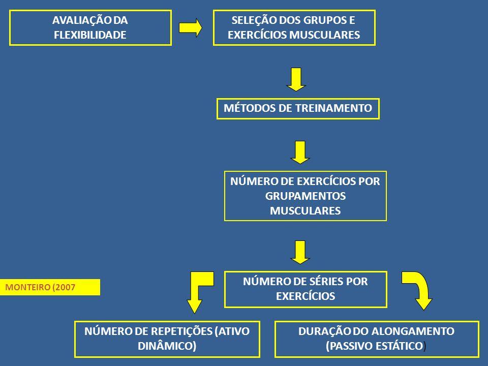AVALIAÇÃO DA FLEXIBILIDADE SELEÇÃO DOS GRUPOS E EXERCÍCIOS MUSCULARES