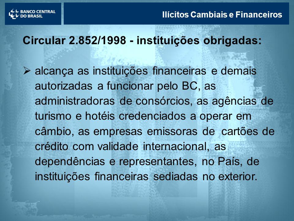 Circular 2.852/1998 - instituições obrigadas: