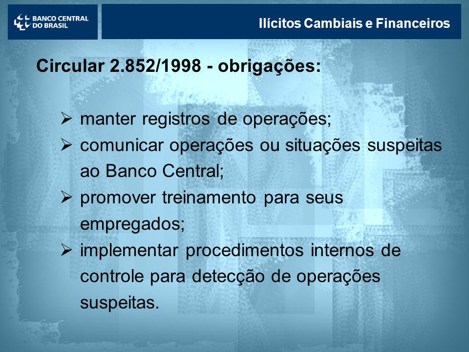 Circular 2.852/1998 - obrigações: manter registros de operações;