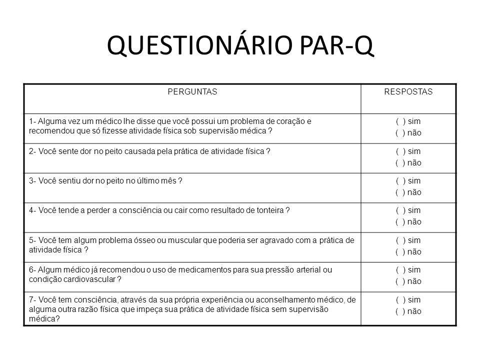 QUESTIONÁRIO PAR-Q PERGUNTAS RESPOSTAS