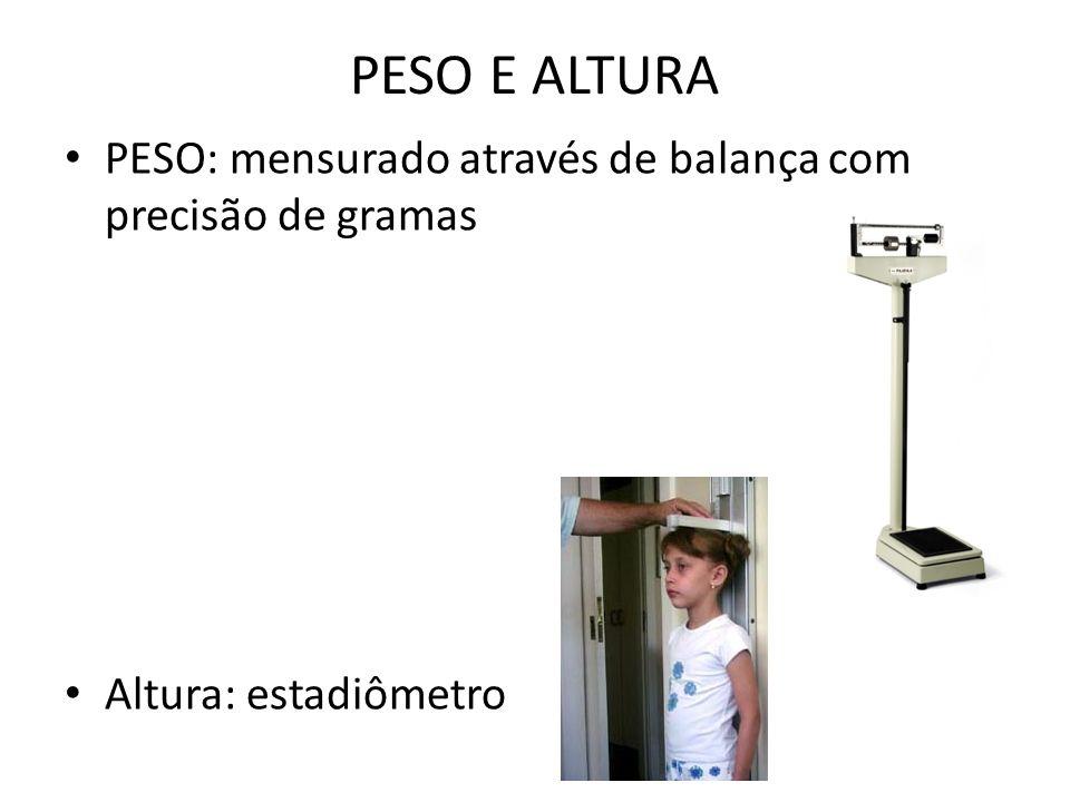 PESO E ALTURA PESO: mensurado através de balança com precisão de gramas Altura: estadiômetro