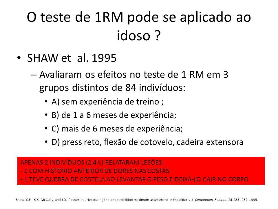O teste de 1RM pode se aplicado ao idoso