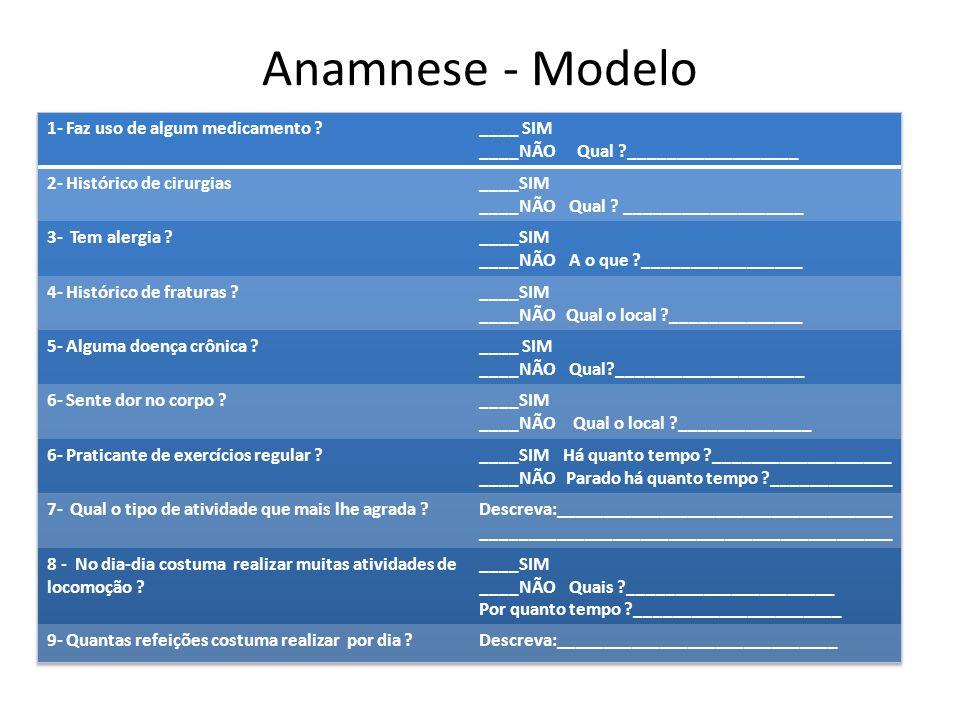 Anamnese - Modelo 1- Faz uso de algum medicamento ____ SIM